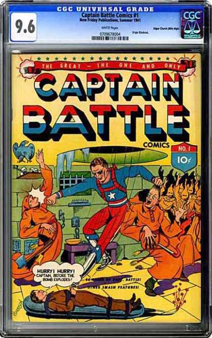 CGC Graded Comics - Captain Battle Comics #1 (CGC) - Captain Battle - Man - Fight - Wall - Prison