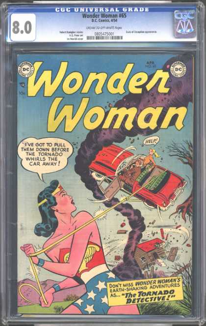 CGC Graded Comics - Wonder Woman #65 (CGC) - Red Car - Tornado - Golden Lace - American Flag - Tree