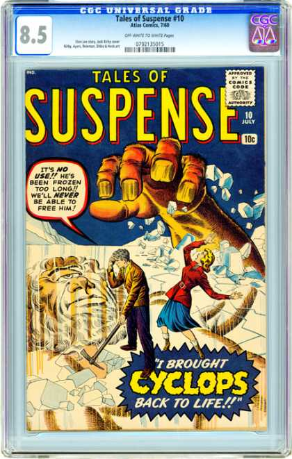 CGC Graded Comics - Tales of Suspense #10 (CGC) - Ice - Giant Hand - Pick Axe - Cyclops - Woman