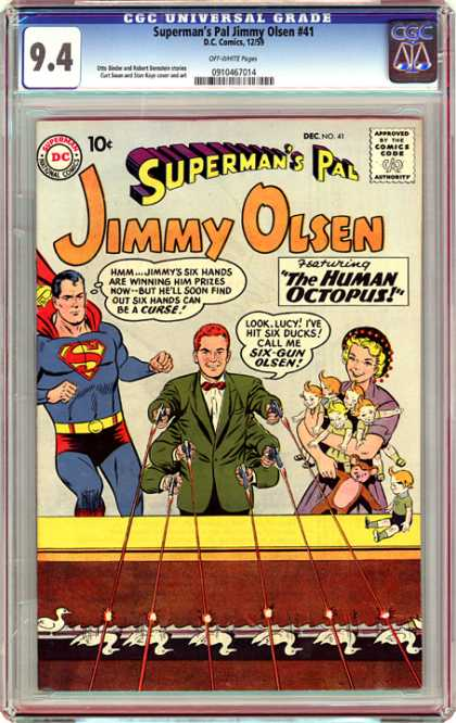 CGC Graded Comics - Superman's Pal Jimmy Olsen #41 (CGC) - Superman - Jimmy Olsen - Guns - Six Hands - Curse