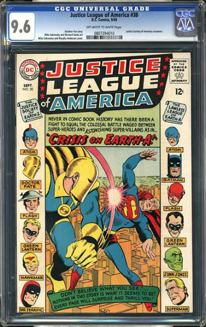 CGC Graded Comics - Justice League of America #38 (CGC) - Crisis On Earth-a - Doctor Fate - Superman - Flying - Fighting