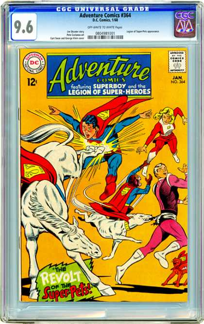 CGC Graded Comics - Adventure Comics #364 (CGC) - Revolt - Saturn Girl - Cosmic Boy - Super-pets - Kicking Horse