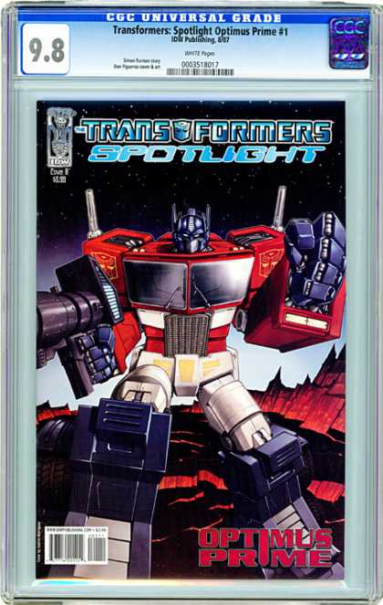 CGC Graded Comics - Transformers Spotlight Optimus Prime #1 (CGC) - Transformers - Spotlight - Iron - Buildings - Legs