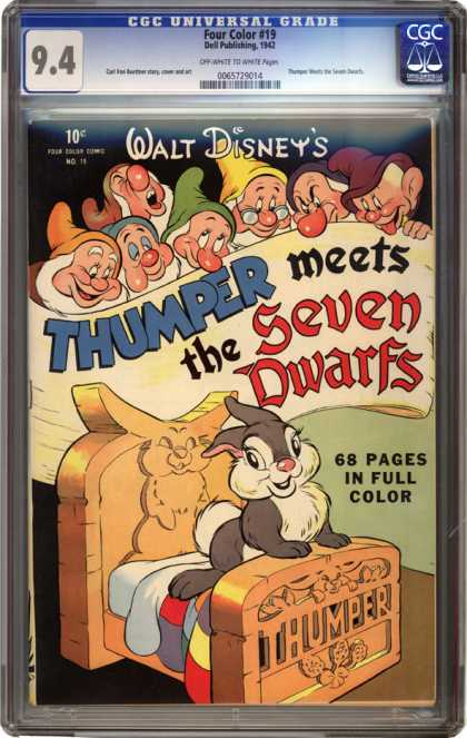 CGC Graded Comics - Four Color #19 (CGC) - Bunny - Bed - Quilt - Dopey Grumpy Sleepy - Happy Sneezy Bashful Doc