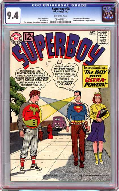 CGC Graded Comics - Superboy #98 (CGC) - Superboy - The Boy With Ultra-powers - Penetra-vision - X-ray Vision - Secret Identity