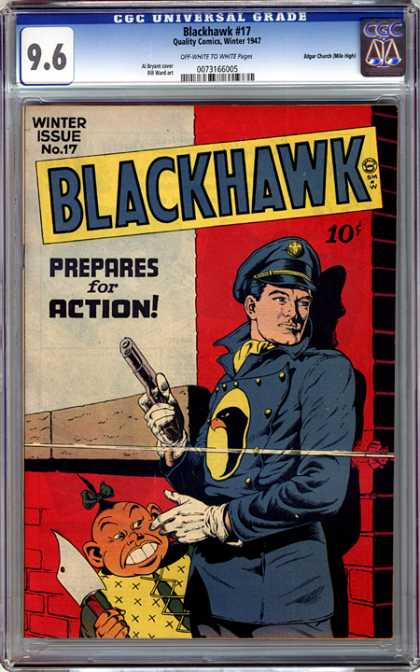 CGC Graded Comics - Blackhawk #17 (CGC) - Blackhawk - Gun - Weapon - Buckteeth - Hairbow