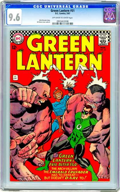 CGC Graded Comics - Green Lantern #51 (CGC) - The Emerald Crusader - Large Red Rock Monsters - Red Mind Controlling Helmet - Man In Blue Armor - Red Loin Cloth