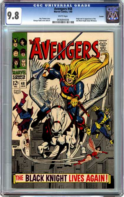 CGC Graded Comics - Avengers #48 (CGC) - The Avenger - Horse - The Black Knight Lives Again - War - Riding