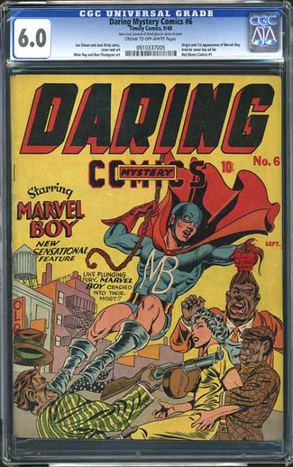 CGC Graded Comics - Daring Mystery Comics #6 (CGC) - Marvel Boy - Red Cape - Rope - People - Pulling Hair
