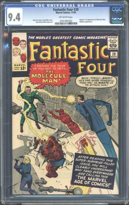 CGC Graded Comics - Fantastic Four #20 (CGC) - Fantastic Four - The Molecule Man - Torch - The Marvel Age Of Comics - Attack Him