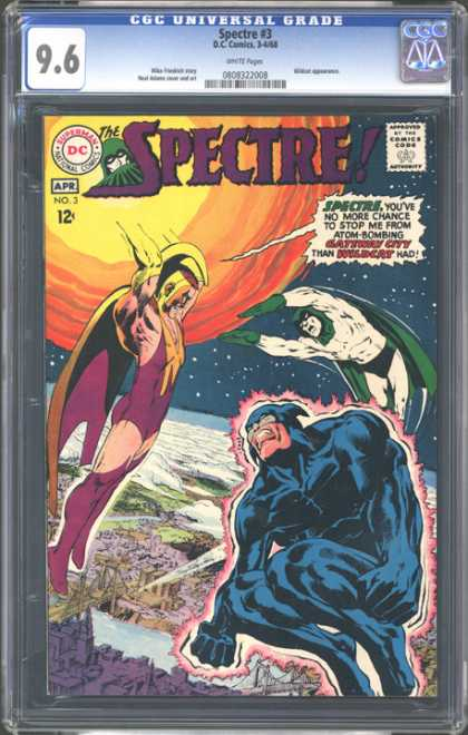 CGC Graded Comics - Spectre #3 (CGC) - The Spectre - Man Surrounded By Red Light - Atom Bombing - Sun In Background - Volume 3