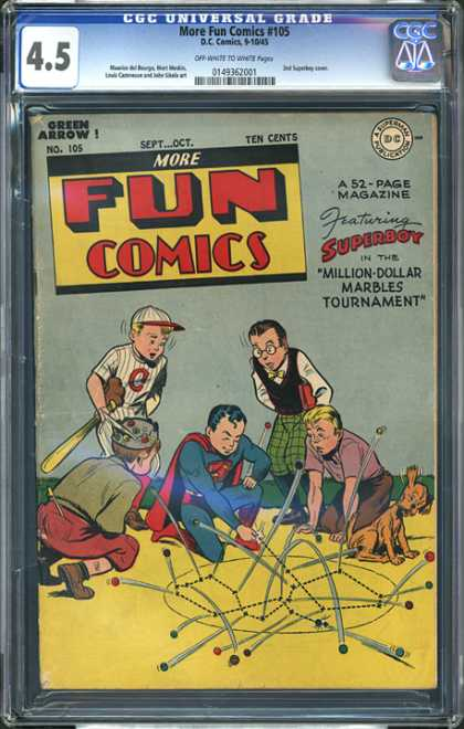 CGC Graded Comics - More Fun Comics #105 (CGC) - Superboy - Million-dollar Marbles Tournament - Marbles - Dog - Bounce