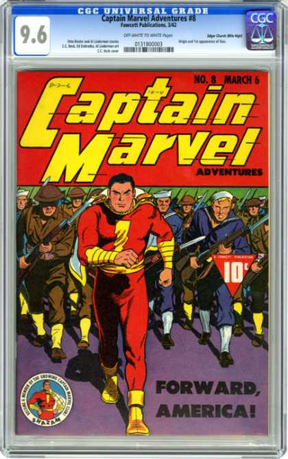 CGC Graded Comics - Captain Marvel Adventures #8 (CGC) - Captain Marvel - Soldiers And Sailors - Navy And Army - Number 8 March 6 - Forward America