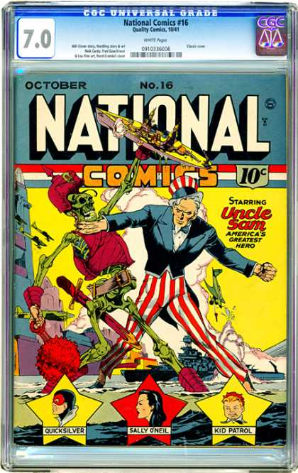 CGC Graded Comics - National Comics #16 (CGC) - Striped Pants - Skeleton - Boat - Airplanes - Yellow