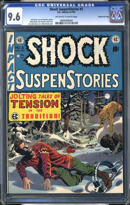 CGC Graded Comics - Shock SuspenStories #3 (CGC) - Impact - Jolting Tales Of Tension - Trap - Moon - No 3