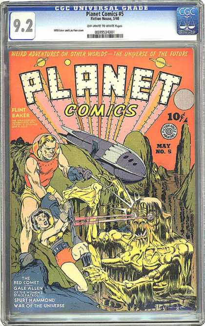 CGC Graded Comics - Planet Comics #5 (CGC) - Weird Adventures On Other Worlds - The Universe Of The Future - Flint Baker - War Of The Universe - Spaceship