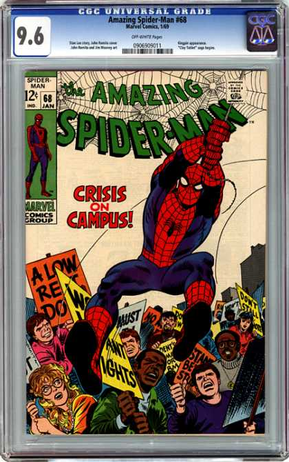CGC Graded Comics - Amazing Spider-Man #68 (CGC) - The Amazing Spider-man - Crisis On Campus - Amazing Spider-man 68 - Marvel Comics Groups - Protest Signs
