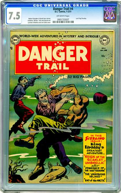 CGC Graded Comics - Danger Trail #4 (CGC) - Mystery - King Faradays Greatest Adventure - Reign Of The Scarlet Umbrella - Vanishing Island - End Of The Arctic