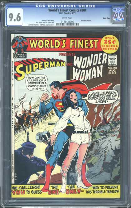 CGC Graded Comics - World's Finest Comics #204 (CGC) - Superman - Riot - Police - Campus - Guns