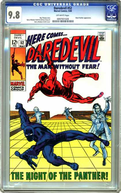 CGC Graded Comics - Daredevil #52 (CGC) - The Man Without Fear - Dare Devil 52 - The Night Of The Panther - May 52 - Daredevil Sweeping Through Air