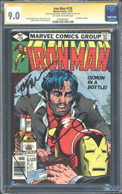 CGC Graded Comics - Iron Man #128 (CGC) - 90 - Marvel Comics Group - 40c 128 - Ironman - Demon In A Bottle