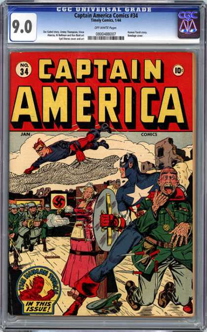 CGC Graded Comics - Captain America Comics #34 (CGC) - Shield - Soldier - Nazi - War - Knives