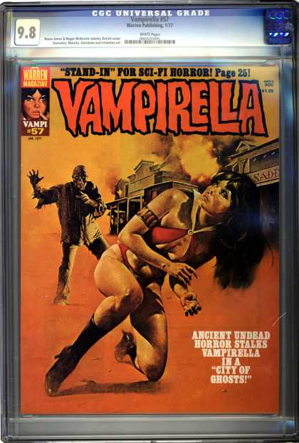 CGC Graded Comics - Vampirella #57 (CGC) - Vamperella - Horror - Old West - City Of Ghosts - Warren Publishing