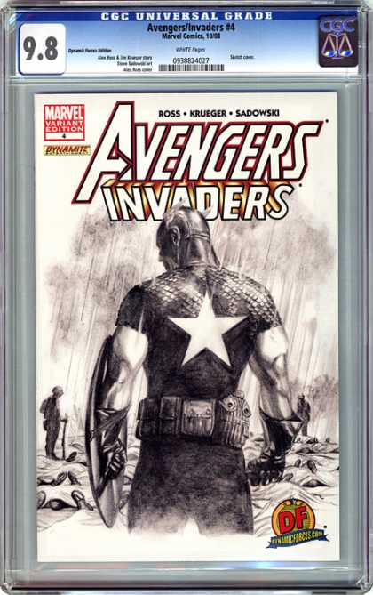 CGC Graded Comics - Avengers/Invaders #4 (CGC) - Solitary - Captain - Film Noir - Black And White - Emotional
