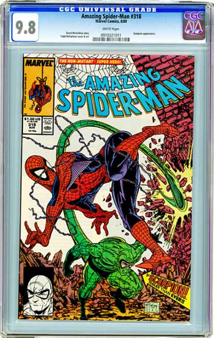 CGC Graded Comics - Amazing Spider-Man #318 (CGC) - The Amazing Spider-man - The Scorpion - Destroyed Red Brick Wall - Hero Tied In Ropes - Mutant