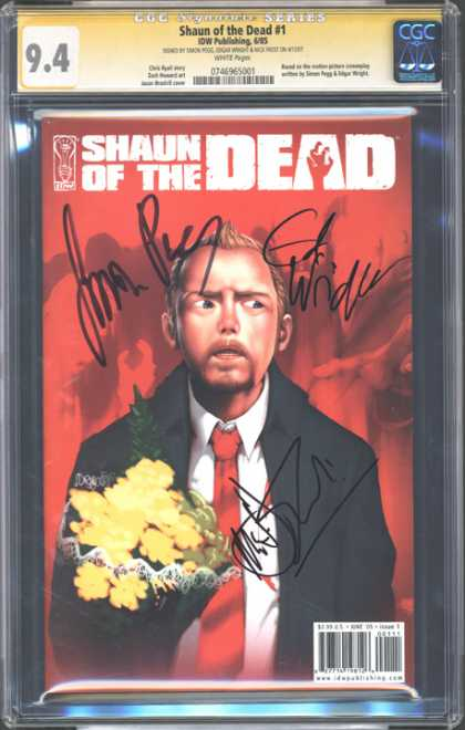 CGC Graded Comics - Shaun of the Dead #1 (CGC) - Yellow Flower - Signature - Man - Neck Tie - Coat