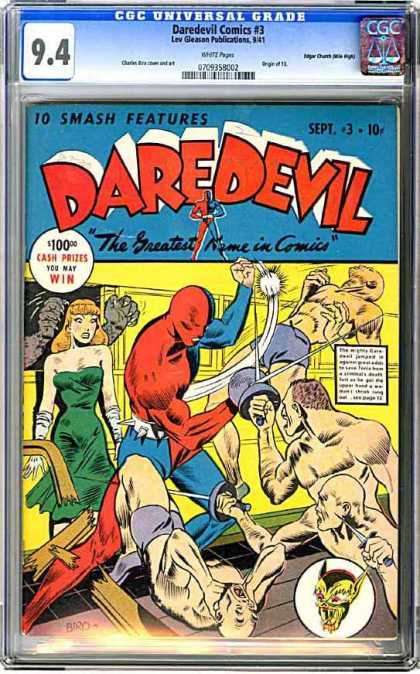 CGC Graded Comics - Daredevil Comics #3 (CGC) - Fighting - Super Heros - Girl - Broken Board - Punch