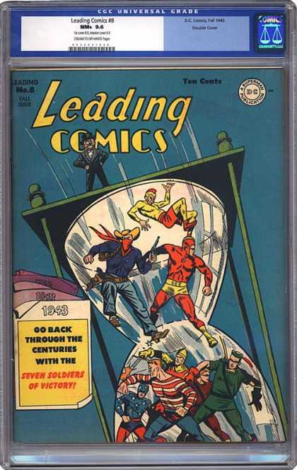 CGC Graded Comics - Leading Comics #8 (CGC) - Leading Comics - Seven Soldiers Of Victory - 1943 - Sandglass - Back Through The Centuries