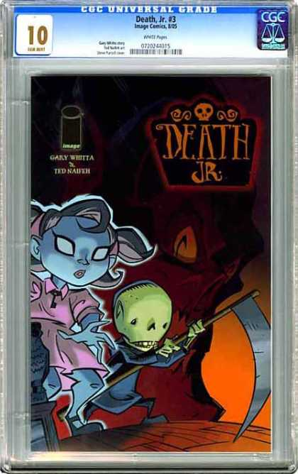 CGC Graded Comics - Death, Jr #3 (CGC) - Gary Whittia - Green Boy - Blue Girl - Pink Dress - Scythe