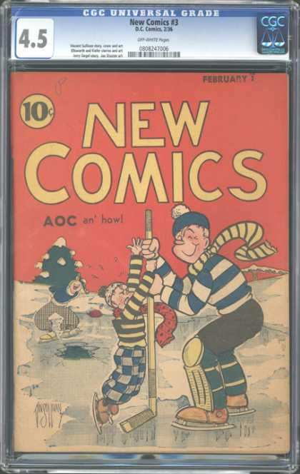 CGC Graded Comics - New Comics #3 (CGC) - Aoc - Ice Skates - Hockey Stick - 45 - Scarf