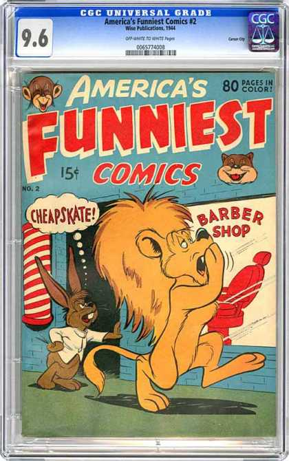 CGC Graded Comics - America's Funniest Comics #2 (CGC) - 96 - Americas Funniest Comics - Lion - Barber Shop - Rabbit