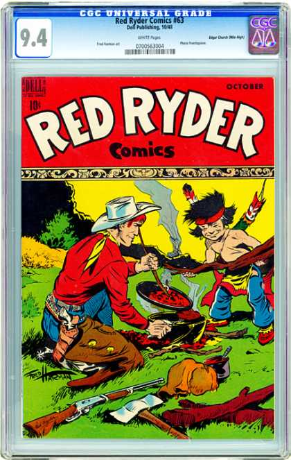 CGC Graded Comics - Red Ryder Comics #63 (CGC) - Cowboy - Indian Boy W Feather - Cooking - Pistol In Holster - Rifle