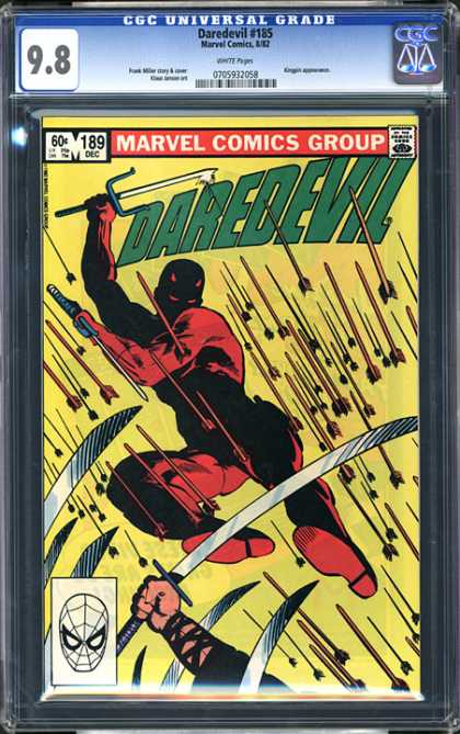 CGC Graded Comics - Daredevil #185 (CGC) - Daredevil - Lots Of Arrows - Fighting - Blades - Yellow Background