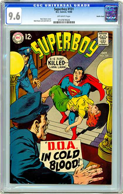 CGC Graded Comics - Superboy #151 (CGC) - Superboy - Lana Lang - Superman - Doa In Cold Blood - Police