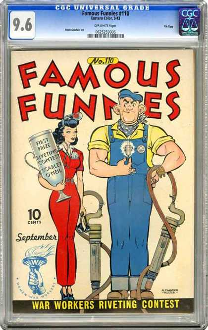 CGC Graded Comics - Famous Funnies #110 (CGC) - Famous Funnies - Rivet Gun - Overalls - War Workers Riveting Contest - High-heeled Shoes