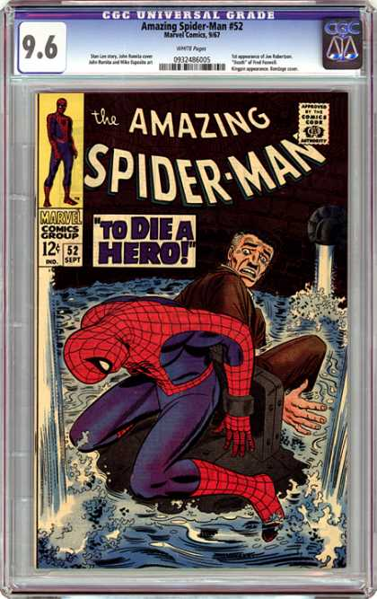 CGC Graded Comics - Amazing Spider-Man #52 (CGC) - To Die A Hero - Water - Spider Man - Tied Up - Man