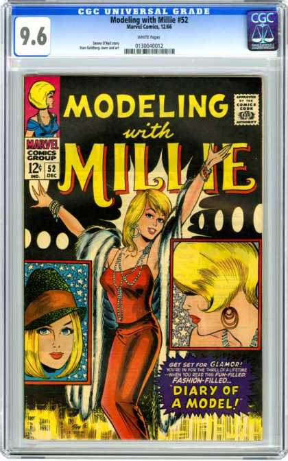 CGC Graded Comics - Modeling with Millie #52 (CGC) - Pretty Girl - Red Outfit - Blond Hair - Necklaces - Hoop Earrings