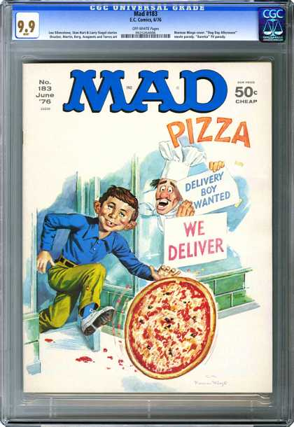 CGC Graded Comics - Mad #183 (CGC) - Mad Pizza - We Deliver - Delivery Boy Wanted - Boy - Pizza