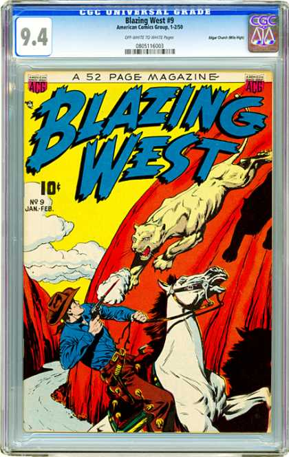 CGC Graded Comics - Blazing West #9 (CGC) - Tiger - Gun - Horse - Cowboy - Saddle