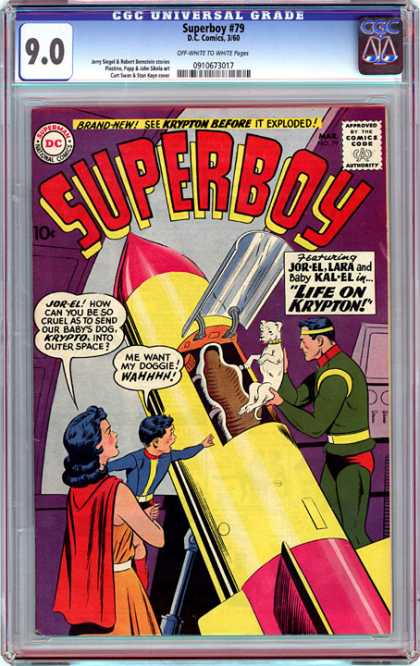 CGC Graded Comics - Superboy #79 (CGC) - Outer Space - Rocket - Pet Dog - Gold Headband - Red Cape