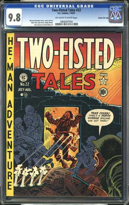 CGC Graded Comics - Two-Fisted Tales #22 (CGC) - Two Fisted Tales - He Man Adventure - Soldier - Ruined Building - Gun Shots