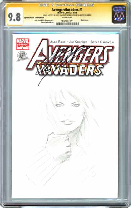 CGC Graded Comics - Avengers/Invaders #1 (CGC) - Drawing - Sketch - Black And White - Invaders - Steve Sadowski