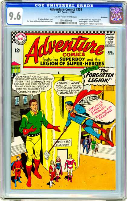 CGC Graded Comics - Adventure Comics #351 (CGC) - Forgotten Legion - Superboy - Legion Of Super-heroes - Super-hero Clubhouse - Smallville