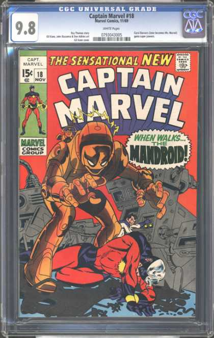 CGC Graded Comics - Captain Marvel #18 (CGC) - Captain Marvel - The Mandroid - Robot - Marvel Comics Group - Sensational