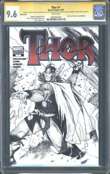 CGC Graded Comics - Thor #1 (CGC) - Thor - 1 - Black And White - Signed - Winged Helmet