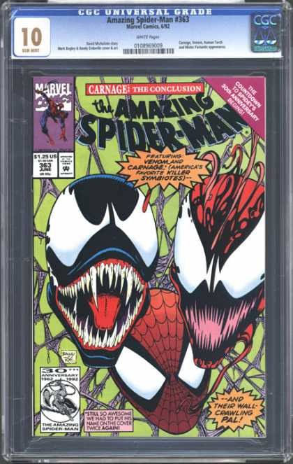 CGC Graded Comics - Amazing Spider-Man #363 (CGC) - Carnage The Conclusion - Venom - Symbiotes - Webs - Sharp Teeth